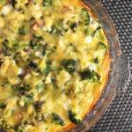 Sweet Potato Broccoli Bacon Quiche in a glass dish