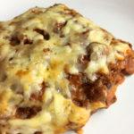 Closeup of a piece of lasagna