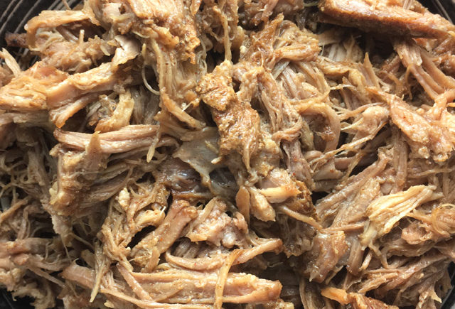 A bowl of pulled pork