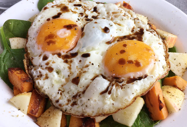 Crispy Fried Eggs Over Veggies