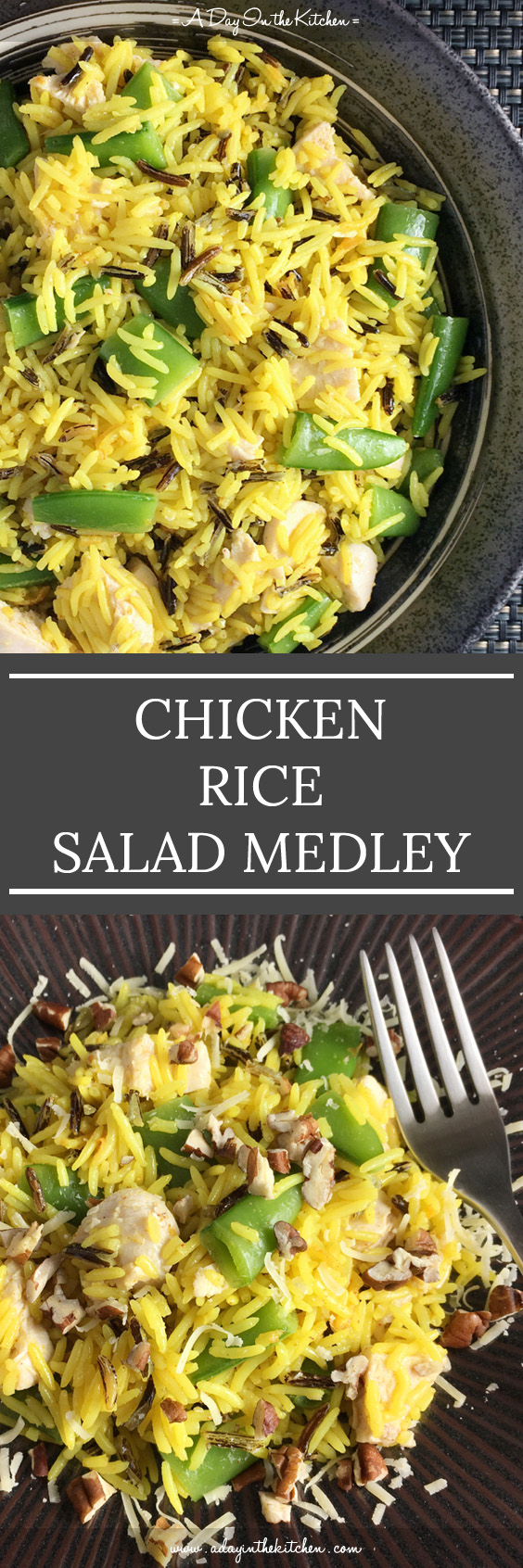 Perfect for a simple weeknight meal, this Chicken Rice Salad is hearty, tasty, healthy! #chickenricesalad #ricesalad #chicken #chickensalad #rice