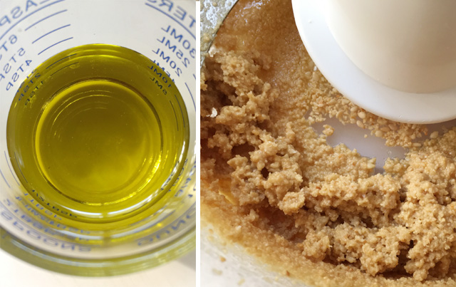 Two images in one, a glass measuring cup with oil on the left, sesame paste processed with oil on the right, for Easy Homemade Tahini.