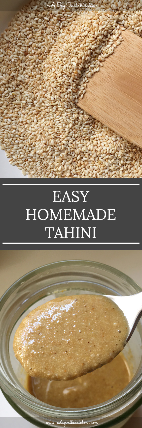 Don't waste your money buying expensive jars of tahini when you can make this easy homemade tahini in your own kitchen for cheaper! Only two ingredients needed and you're one step closer to making your own hummus! #tahini #sesame #hummus #tahinipaste #sesameseeds