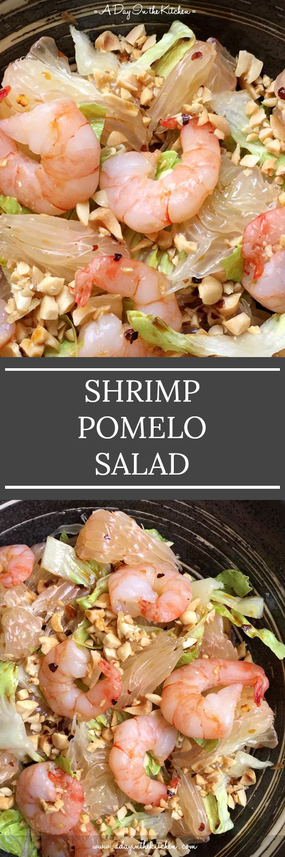 Tender shrimp, juicy pomelo wedges, crunchy peanuts, and a spicy, tangy, sweet dressing combine to make the perfect salad.