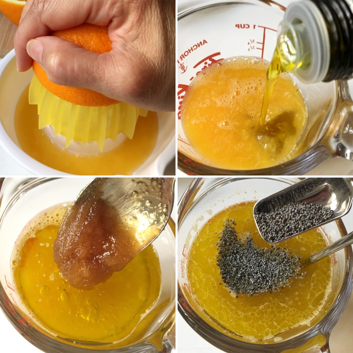 Squeezing half an orange on a juicer, adding olive oil, honey, and grey poppyseeds to a measuring cup with the orange juice