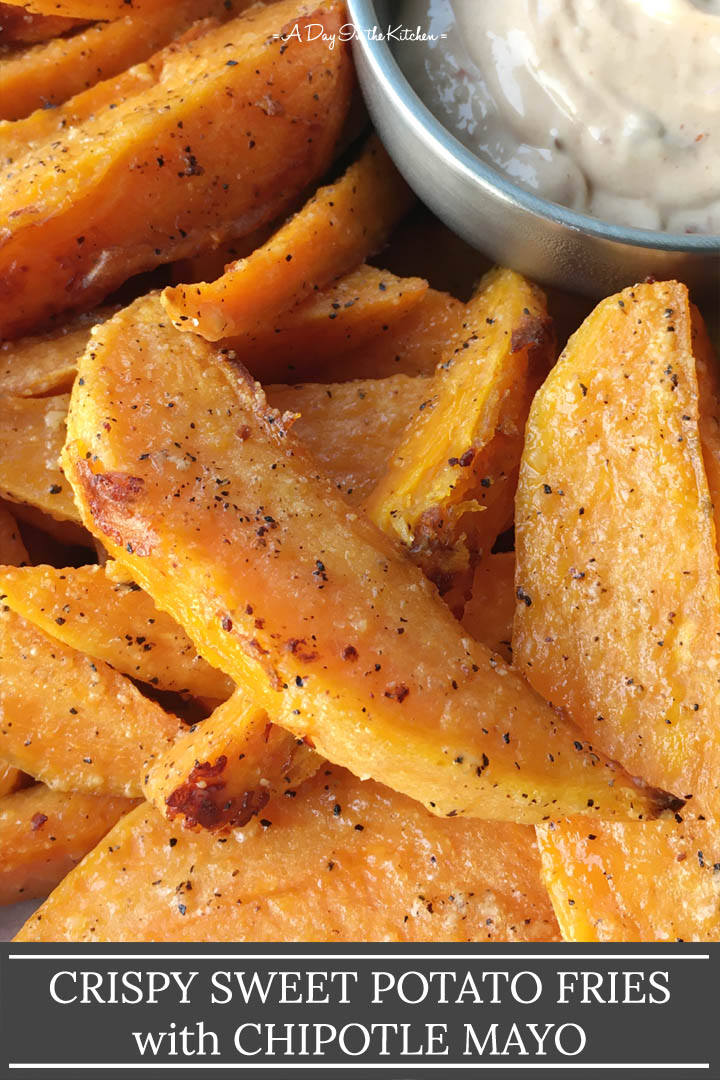 Sweet potato fries next to a bowl containing dip, the words crispy sweet potato fries with chipotle mayo on the bottom