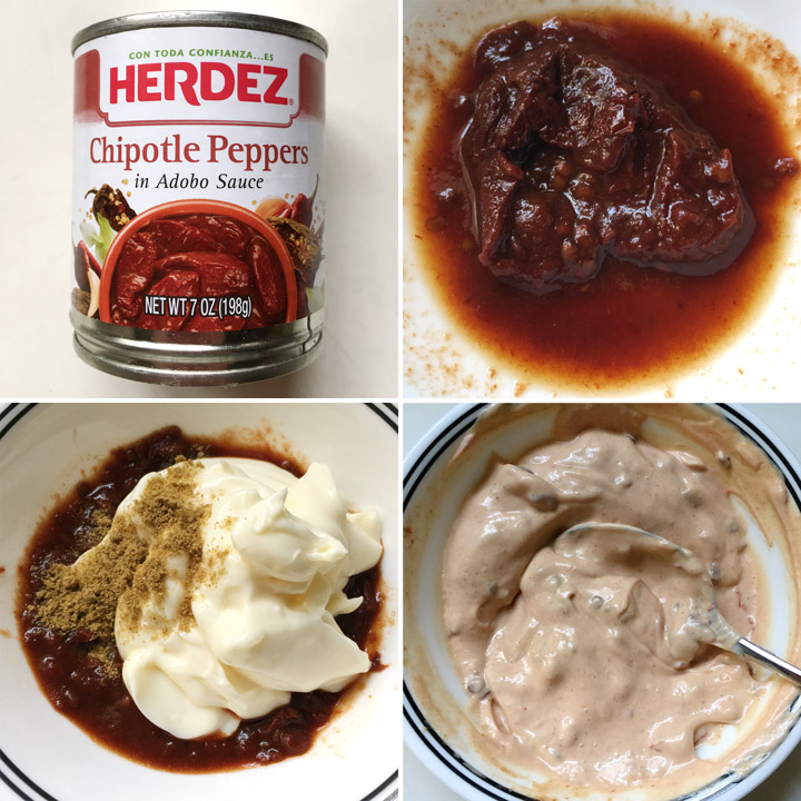 A tin of chipotle peppers, a white bowl containing dark red pepper, mayonnaise and brown cumin powder making chipotle mayo