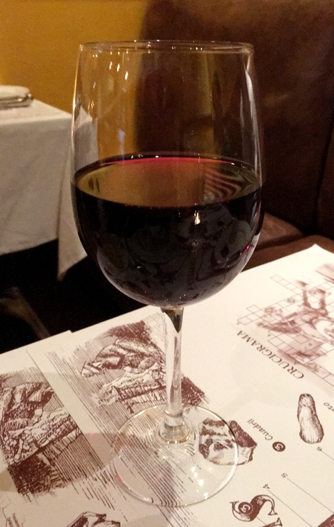 A glass of red wine at La Pampa