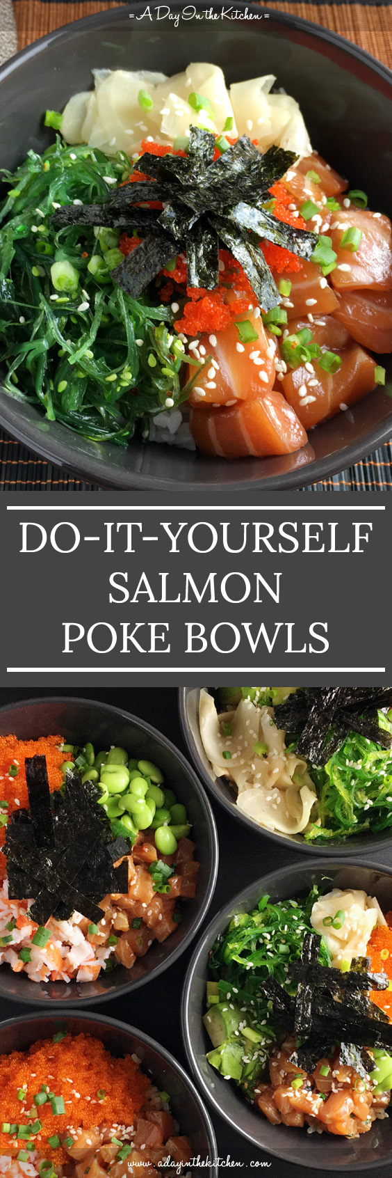 Making your own salmon poke bowls is easier than you think! Choose your favorite toppings and you've got a great meal in a bowl! #glutenfree #salmon #pokebowls