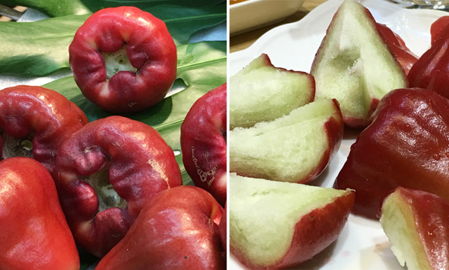 Whole and cut wax apples - eat in Taipei