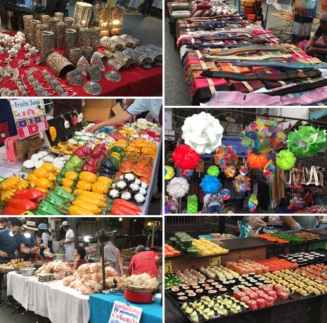 A collage of items for sale at the Saturday Night Market in Chiang Mai