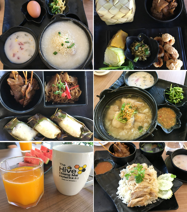 A collage of photos showing Thai breakfast options available at The Hive Hotel in Chiang Mai