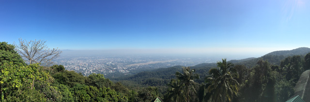 A view of Chiang Mai from the Golden Temple grounds