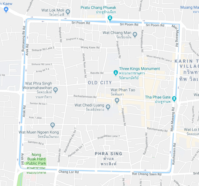A Google map showing the Walled Old City in Chiang Mai