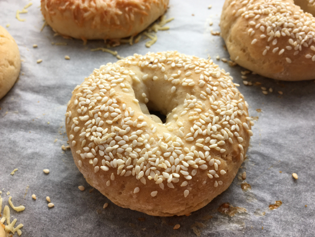 Close-up of a gluten-free bagels topped with sesame seeds