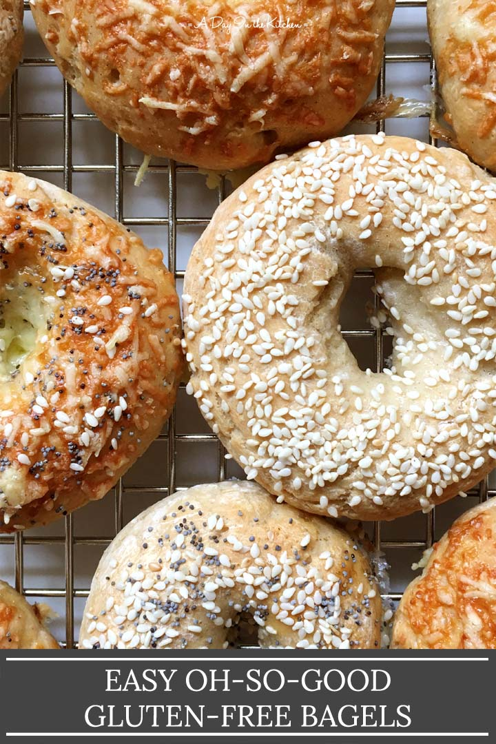 Close-up of bagels, the words easy oh so good gluten-free bagels on the bottom