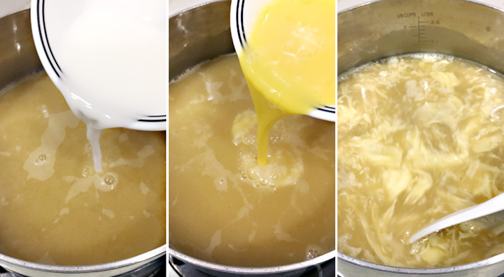 How to make egg drop soup pouring tapioca slurry and eggs into chicken broth