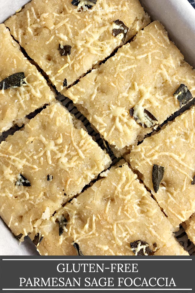 A rectangular pan of cut focaccia with the title Gluten-Free Parmesan Sage Focaccia