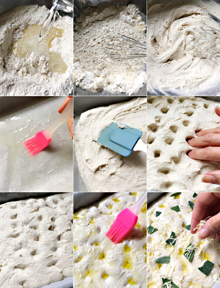 Collage of instructional photo steps showing how to make Parmesan sage focaccia