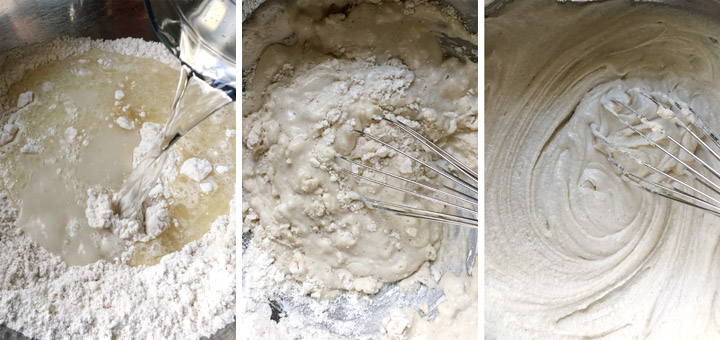 Three photos showing mixing the wet and dry ingredients to make the pizza batter