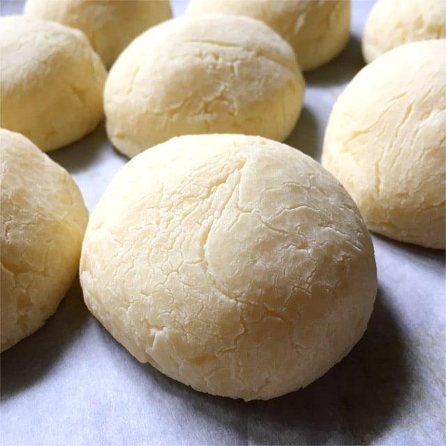 Close-up of Korean Mochi QQ Balls on a baking pan