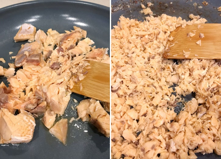 Two images showing cooked pink salmon being broken into flakes with a spatula in a frying pan