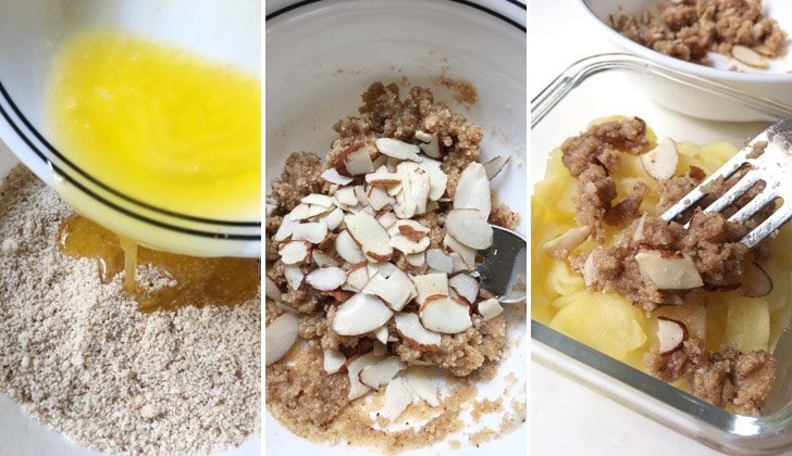 Melted butter being poured into a bowl, sliced almonds being stirred into a brown crumbly mixture, a fork laying a brown sliced almond topping on top of cooked apples