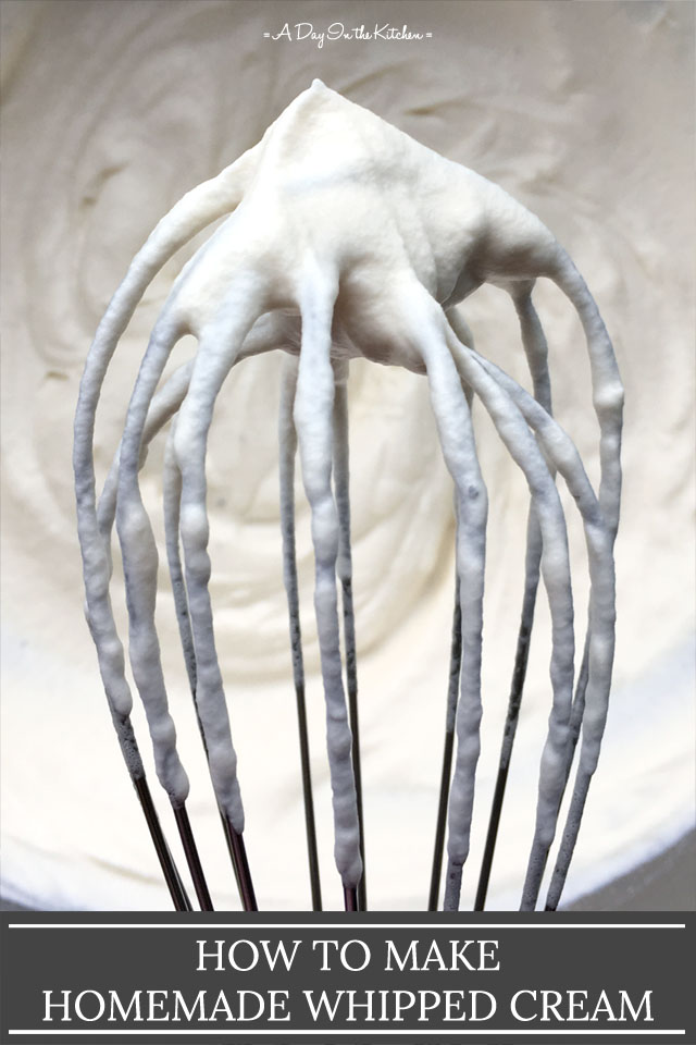 Close-up of a metal whisk with stiff whipped cream peaks, the words How To Make Homemade Whipped Cream on the bottom