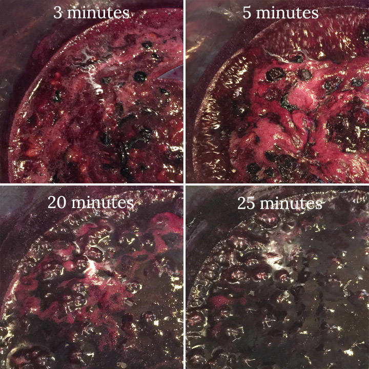 4 stages of purple blueberry liquid thickening to a dark glossy mixture
