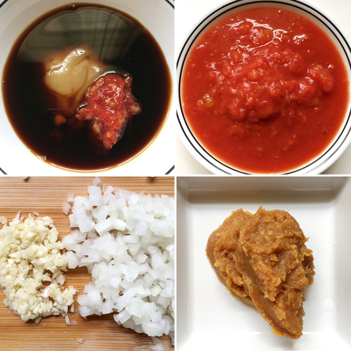 A collage of four photos showing red tomato sauce, dark brown sauce, honey, chili sauce, garlic, onions, and brown miso paste