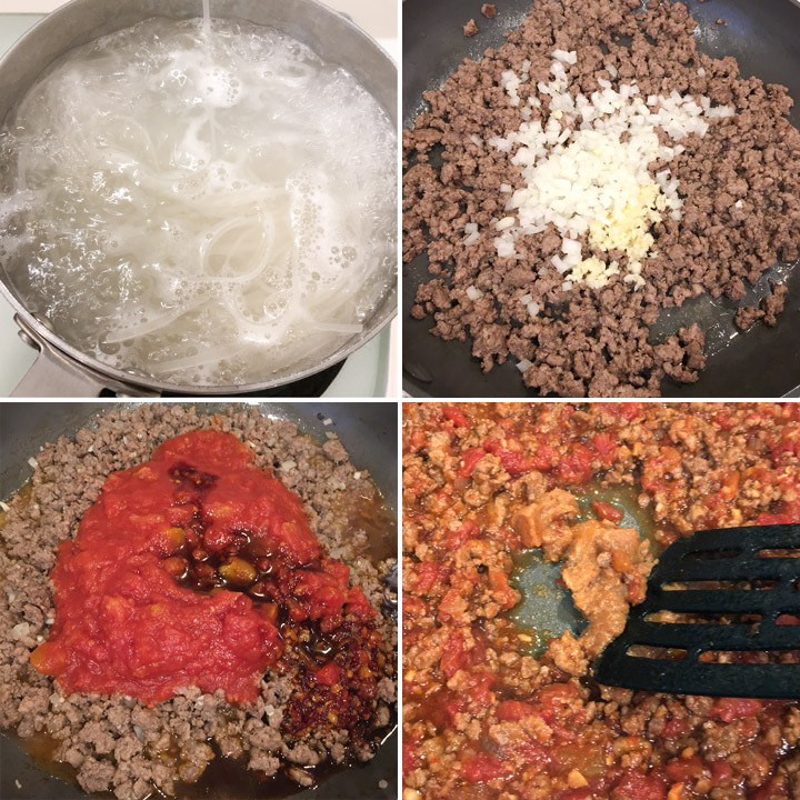 A collage of four photos, noodles boiling in water in a pot, ground beef cooking in a pan with onions, garlic, tomato sauce