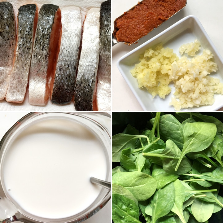 6 narrow skin-on salmon filets, a spoonful of red past, minced garlic and ginger, a measuring cup of white liquid, and a bowl containing green spinach leaves