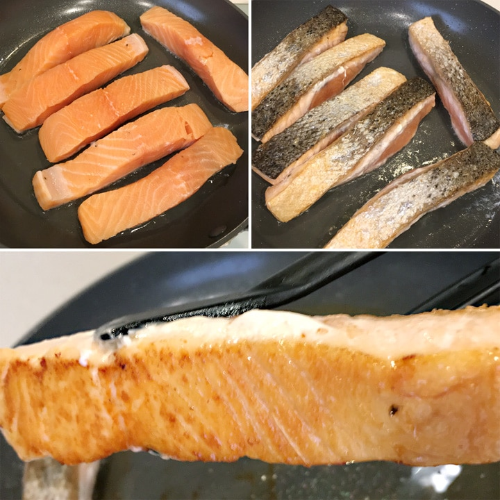 Six orange salmon filets in a round pan, six salmon filets skin-side up in a round pan, black tongs holding a salmon filet with a browned underside