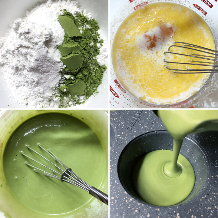 White and green flours in a bowl, yellow and white liquid in a measuring cup, green liquid with a whisk, green liquid being poured into a muffin tin