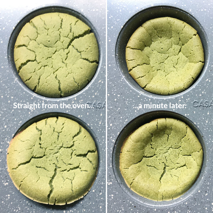 Before and after shots of two round green cakes in a muffin tin