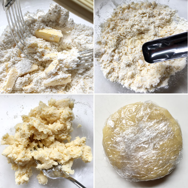 Dry flour ingredients and yellow butter chunks being mixed to create a dough