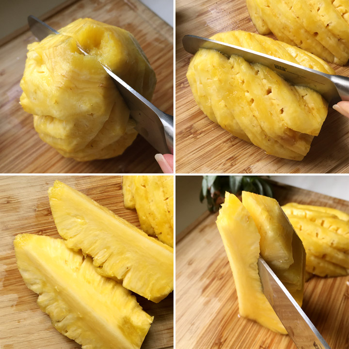 Cutting a peeled pineapple into chunks and removing the core